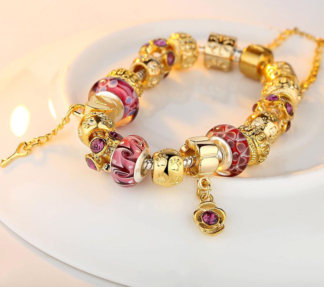 olen diy gold charm bracelet with exquisite murano glass