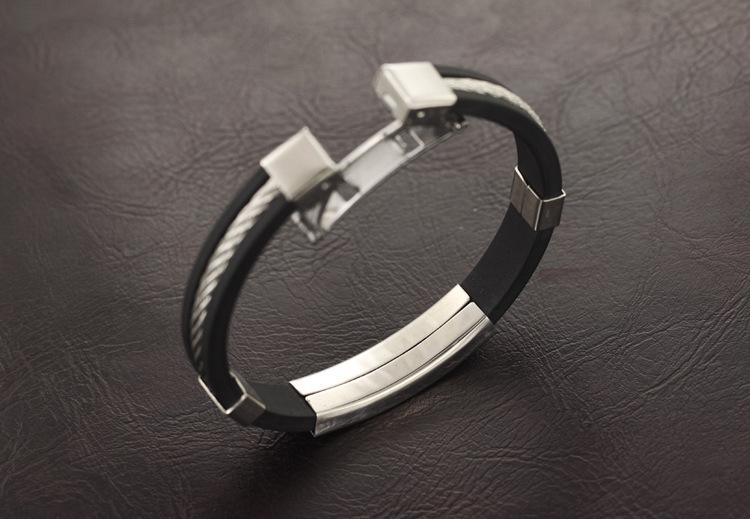 Olen Silicon With Titanium Steel Bangle Black Export Lazada