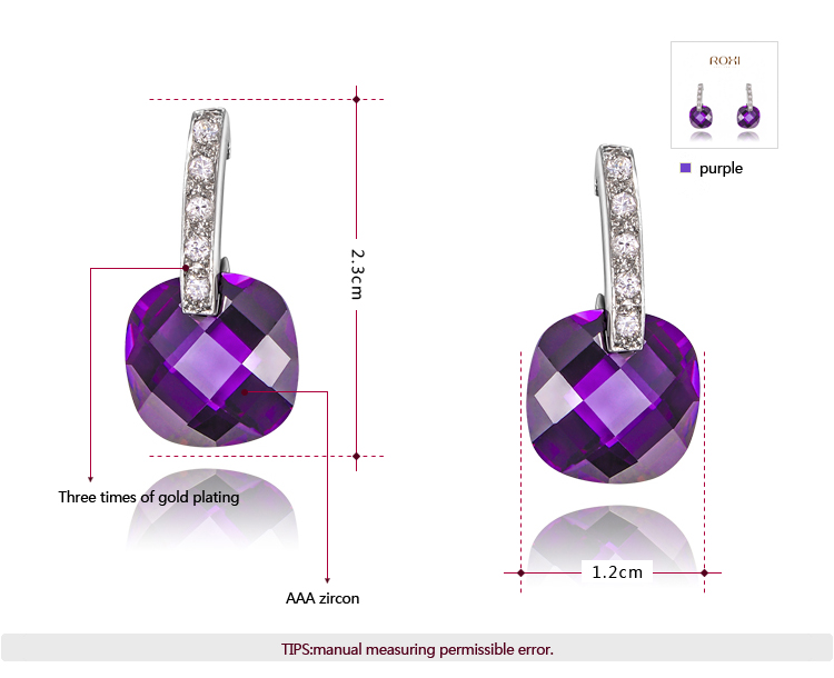 Purple diamond stud earrings